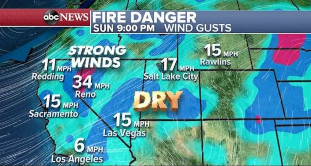 PHOTO: Strong winds could catalyze brush fires across the West.