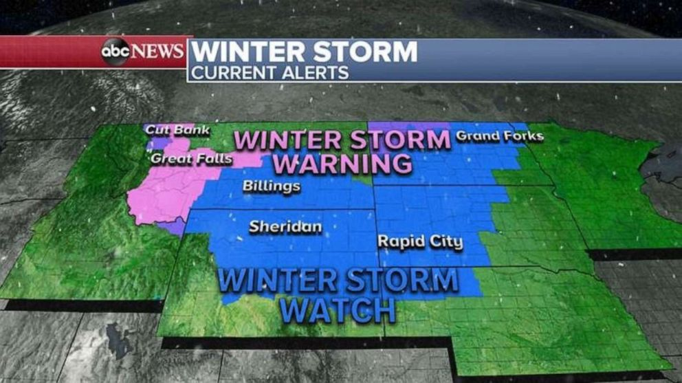 PHOTO: 7 states from the Rockies into the northern Plains are under Winter Storm Warnings and Watches for the developing storm.