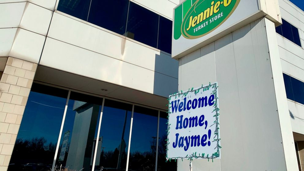 "A ""Welcome Home, Jayme!"" sign is shown Jan. 16, 2019, in front of the Jennie-O Turkey Store in Barron, Wis., where her parents, James and Denise Closs, worked. Defense attorneys for the man accused of kidnapping Wisconsin teenager Jayme Closs and killing her parents acknowledged Wednesday that they're starting the case at a disadvantage after their client gave detectives a detailed confession and said they're not sure he can get a fair trial in the state. (AP Photo/Jeff Baenen)"
