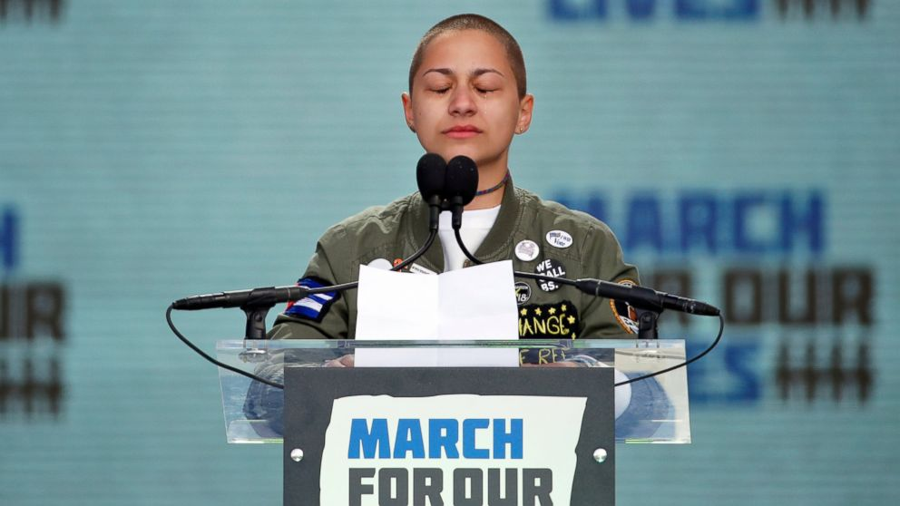 """FILE - In this March 24, 2018 file photo, Emma Gonzalez, a survivor of the mass shooting at Marjory Stoneman Douglas High School in Parkland, Fla., closes her eyes and cries as she stands silently at the podium for the amount of time it took the Parkland shooter to go on his killing spree during the """"March for Our Lives"""" rally in support of gun control in Washington. Last year's shooting at a Florida high school sparked a movement among a younger generation angered by gun violence and set the stage for a significant shift in America's gun politics. (AP Photo/Alex Brandon)"""