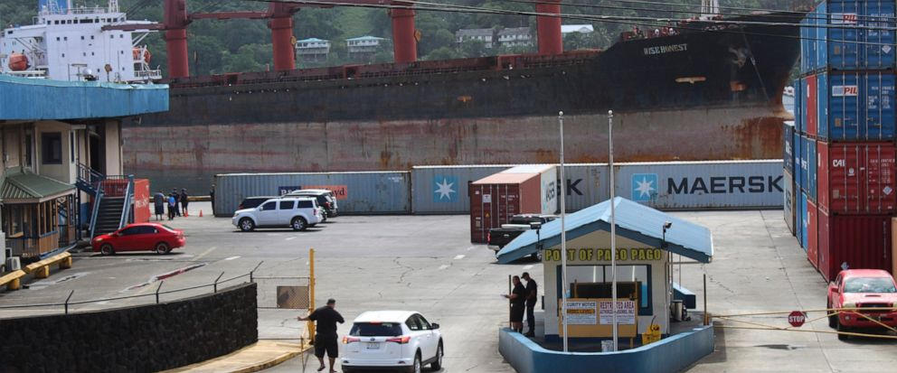 FILE - This May 11, 2019, file photo shows the North Korean cargo ship Wise Honest docking in Pago Pago, American Samoa. The U.S. Coast Guard says a seized North Korean cargo ship, the Wise Honest, suspected of being used to violate international san