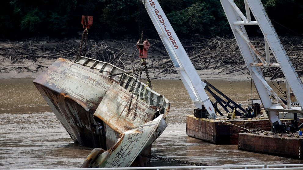 1 of 2 sunken barges removed from Arkansas River in Oklahoma