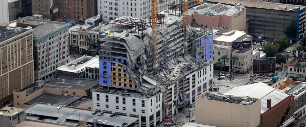 This aerial photo shows the Hard Rock Hotel, which was under construction, after a fatal partial collapse in New Orleans, Saturday, Oct. 12, 2019. (AP Photo/Gerald Herbert)