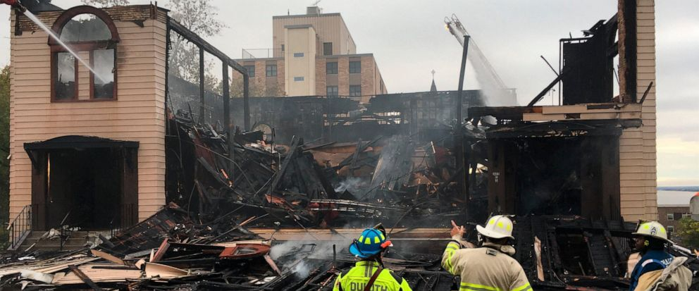 Firefighters in Duluth, Minn., battle a blaze at the Adas Israel Congregation on Monday, Sept. 9, 2019. A preliminary investigation has found no signs of accelerants at the fire that destroyed the historic synagogue in northern Minnesota, authorities