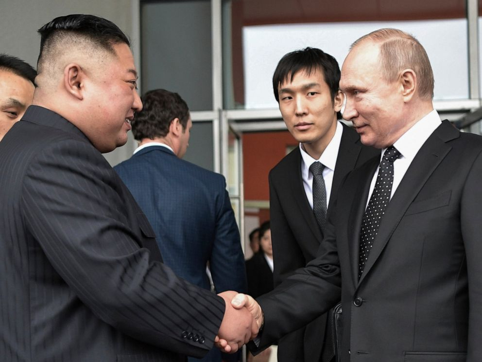 Russian President Vladimir Putin, right, and North Koreas leader Kim Jong Un shake hands after the talks in Vladivostok, Russia, Thursday, April 25, 2019. Russian President Vladimir Putin and North Korean leader Kim Jong Un said Thursday they had go