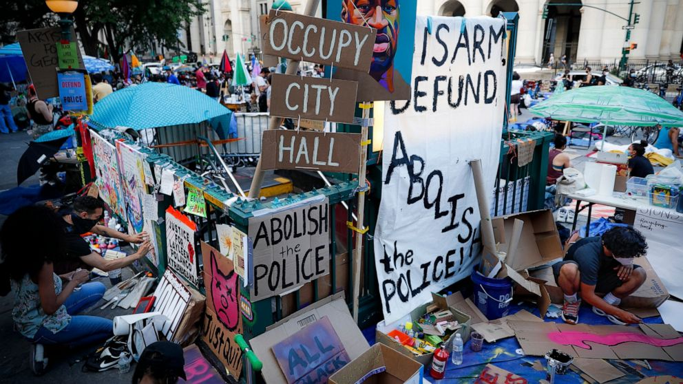 'Occupy City Hall' protest urges finances cuts for NYC police thumbnail