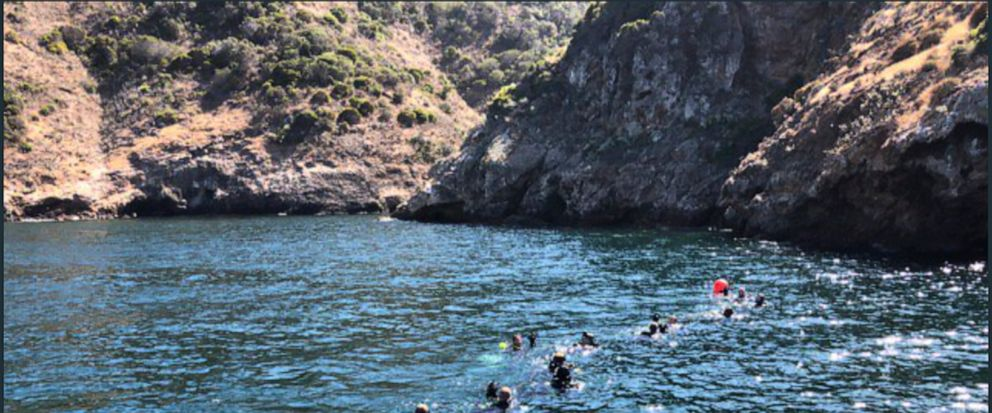 This photo provided by Santa Barbara County on Wednesday, Sept. 4, 2019 shows divers and support crews from many agencies working the scene of the dive boat fire off Santa Cruz Island, Calif. Only one person remained missing on Wednesday. Divers pull