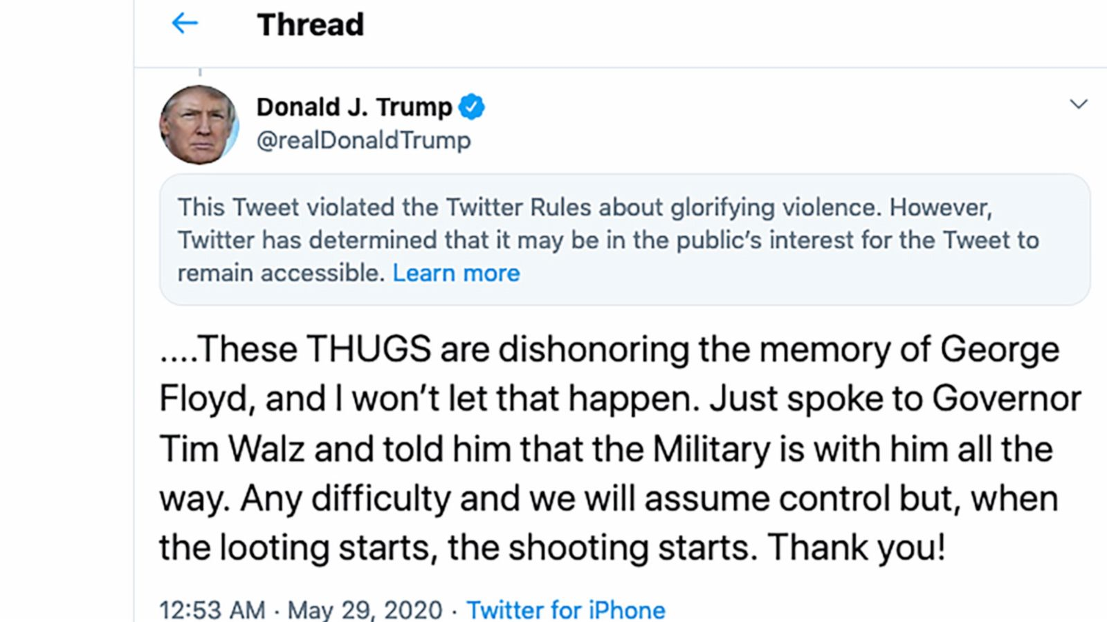 Twitter Adds Glorifying Violence Warning To Trump Tweet Abc News