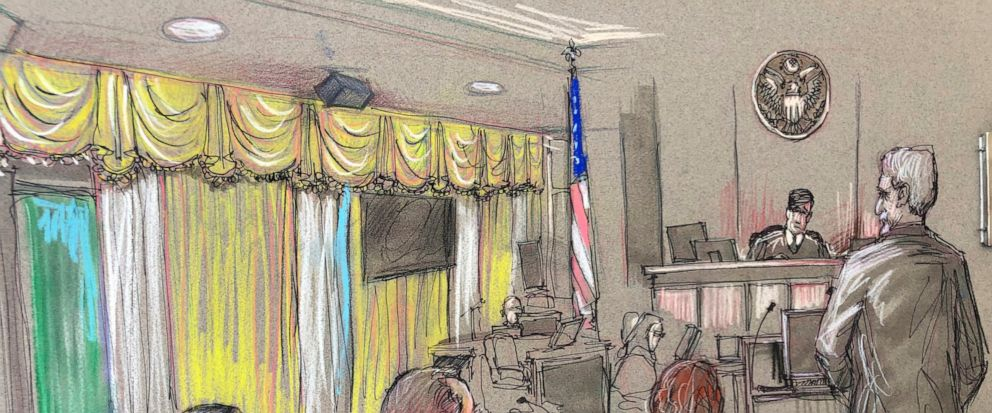 FILE - In this April 15, 2019, file court sketch, Yujing Zhang, left, a Chinese woman charged with lying to illegally enter President Donald Trumps Mar-a-Lago club, listens to a hearing before Magistrate Judge William Matthewman in West Palm Beach,
