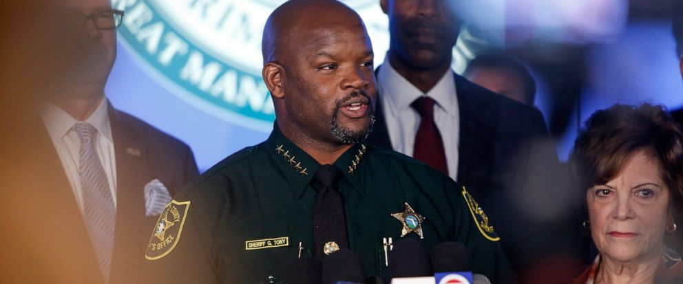 Broward County Sheriff Gregory Tony speaks at a news conference announcing the opening a new 2,600-square-foot strategic command and intelligence center, Tuesday, Aug. 13, 2019, in Fort Lauderdale, Fla. The center, located at the Broward County Sheri