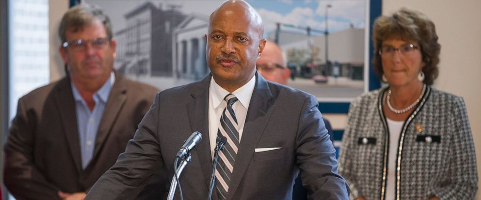 FILE - In this Oct. 3, 2019 file photo Indiana Attorney General Curtis Hill holds a news conference in South Bend, Ind., to speak about recently found fetal remains in former abortion doctor Ulrich Klopfers home. Hill said Friday, Oct. 11, 2019, tha