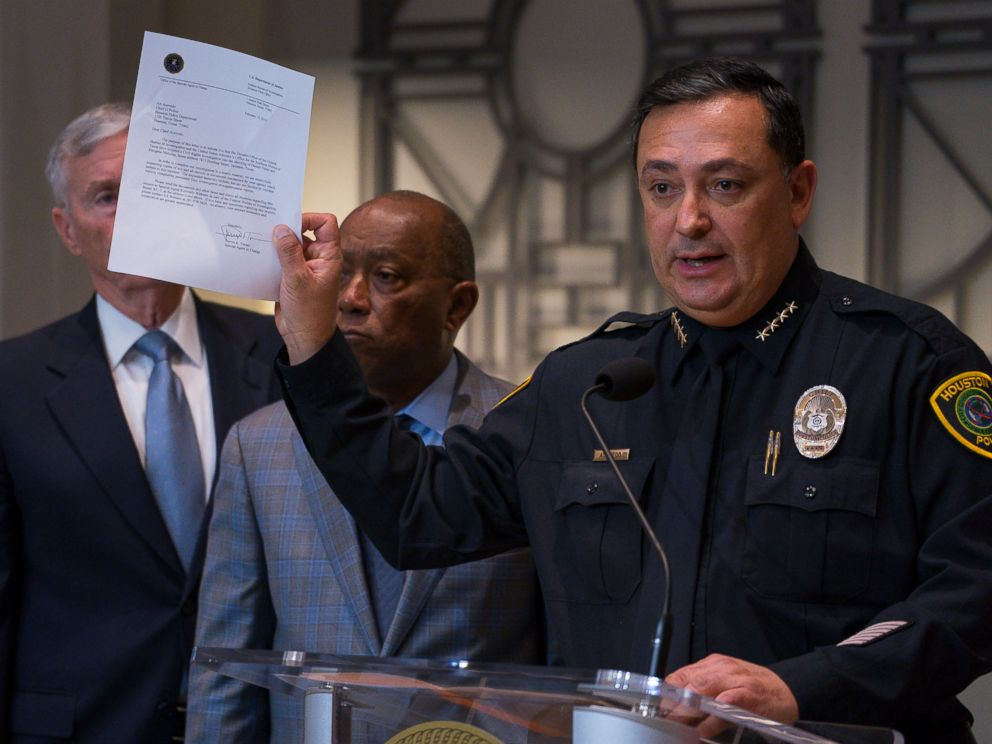 Houston Police Department Chief Art Acevedo holds up a letter from the FBI announcing the bureaus civil rights investigation related to the deaths of two people during the no-knock raid by narcotics officers that killed two people and injured five p