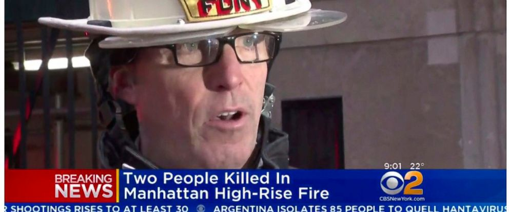 In this image taken from video and provided by WCBS-TV News, New York Fire Department Deputy Chief James Coyne speaks with members of the media after a deadly hi-rise fire, Saturday, Jan. 12, 2019 in New York. An elderly Manhattan couple died in the