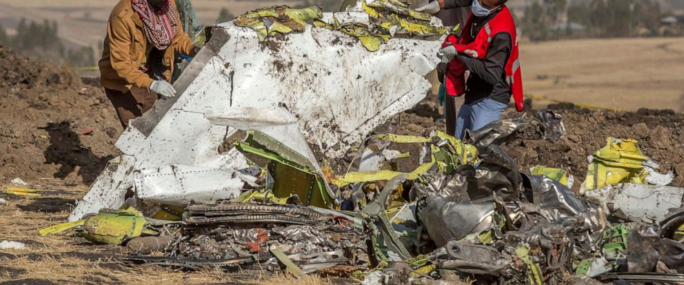 FILE - In this March 11, 2019, file photo, rescuers work at the scene of an Ethiopian Airlines flight crash outside of Addis Ababa, Ethiopia. Ethiopian Airlines' former chief engineer Yonas Yeshanew, who is seeking asylum in the U.S., says in a whist