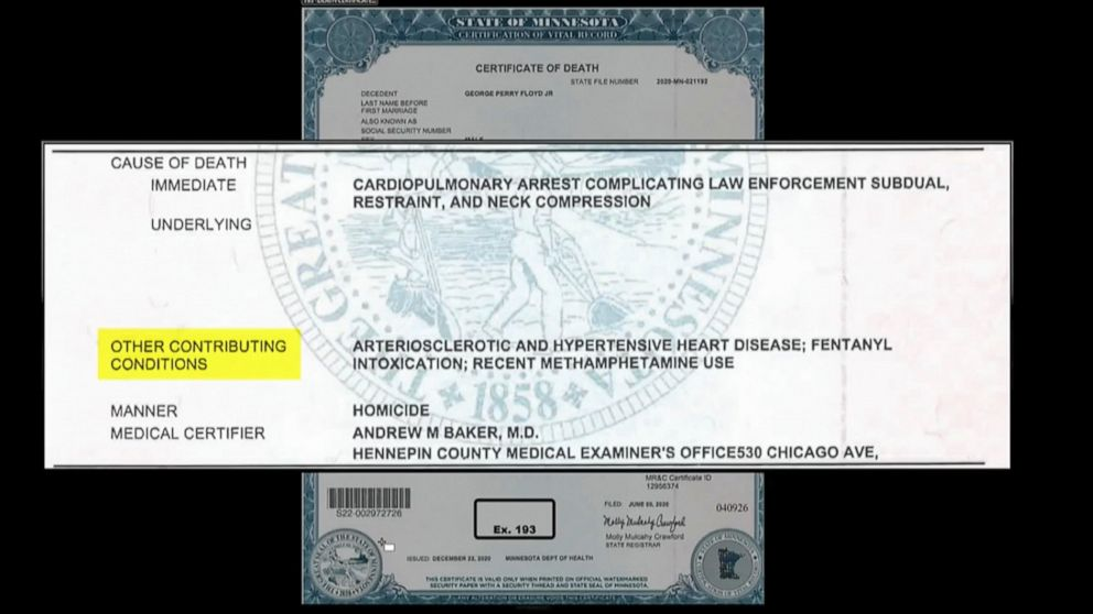 This image from video shows the certificate of death of George Floyd that was entered into evidence, as Hennepin County Judge Peter Cahill presides over court Firday, April 9, 2021, in the trial of former Minneapolis police Officer Derek Chauvin, at