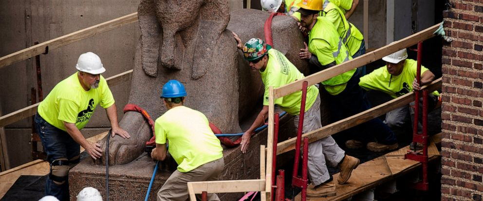 Workers move a 25,000-pound Sphinx of Ramses II at the Penn Museum in Philadelphia, Wednesday, June 12, 2019. The 3,000-year-old sphinx is being relocated from the Egypt Gallery where its resided since 1926 to a featured location in the museums new
