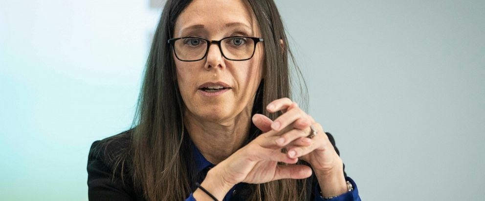 In this May 13, 2019 photo, Dana Weiner, policy fellow at Chapin Hall at the University of Chicago, discusses a review of the Illinois Department of Children and Family Services Intact Family Services program, during a press event at DCFS, in Chicag
