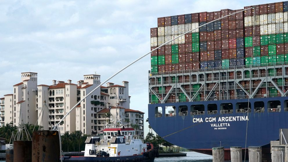 The CMA CGM Argentina arrives at PortMiami, the largest container ship to call at a Florida port, Tuesday, April 6, 2021, in Miami. (AP Photo/Lynne Sladky)