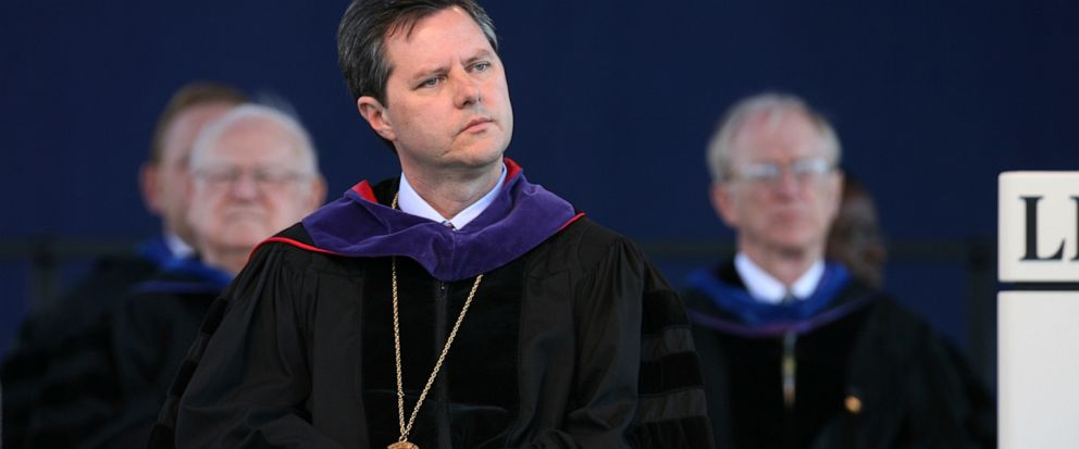 FILE - In this May 19, 2007, file photo, Jerry Falwell, Jr. listens before speaking for the first time as chancellor of Liberty University at the schools graduation ceremony in Lynchburg, Va. Falwell Jr. said Tuesday, Sept. 10, 2019, that he is aski