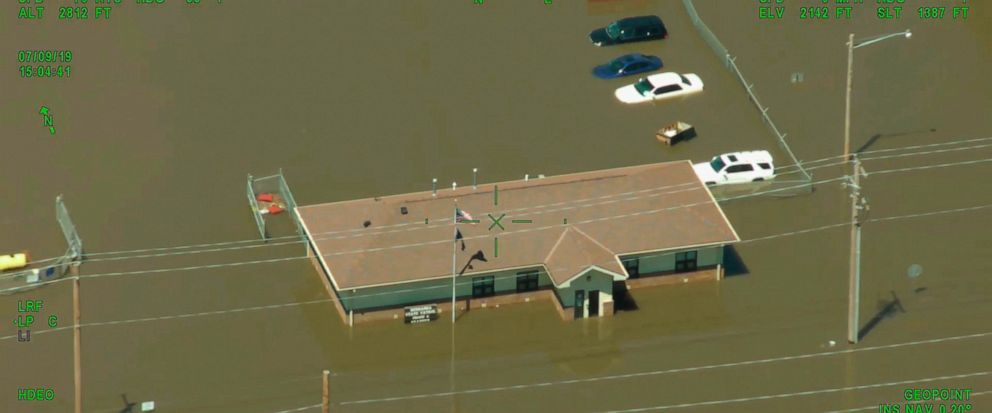 This image made from video provided by the Nebraska State Patrol shows a flooded building of the Nebraska State Patrol Troop C near the junction of Interstate 80 and Nebraska Highway 44 in Kearney, Neb., Tuesday, July 9, 2019, following an overnight