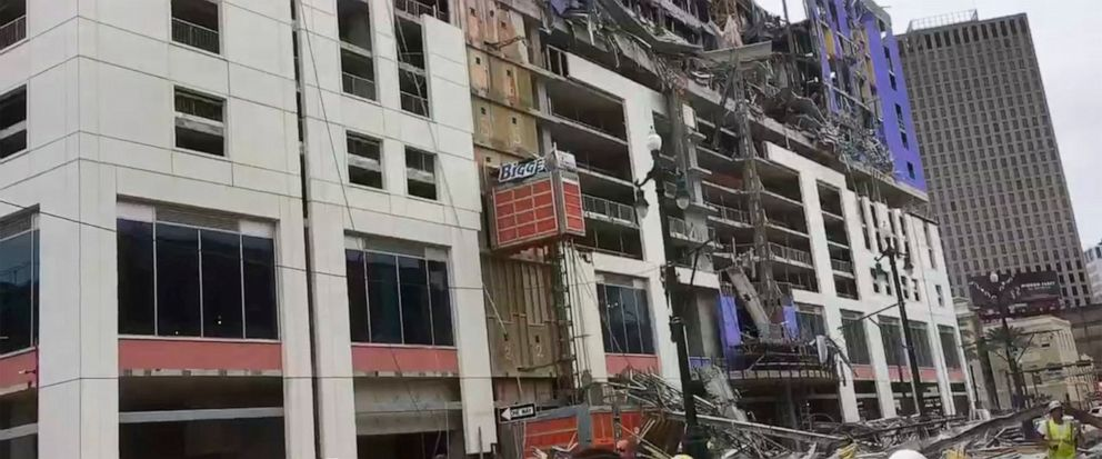 This photo provided by WWL-TV shows several construction standing after a large portion of the Hard Rock Hotel, under construction suddenly collapsed Saturday, Oct. 12, 2019 in New Orleans. It was not immediately clear what caused the collapse or if