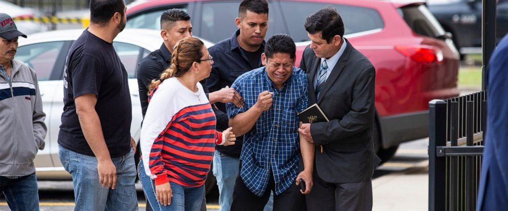 Arnulfo Ochoa, the father of Marlen Ochoa-Lopez, is surrounded by family members and supporters, as he walks into the Cook County medical examiners office to identify his daughters body, Thursday, May 16, 2019 in Chicago. (Ashlee Rezin/Chicago Sun-