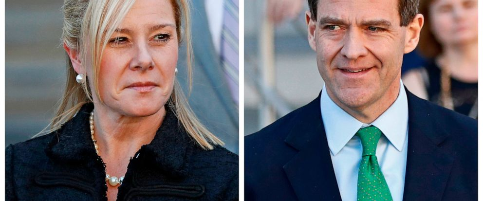 FILE – This combination of March 29, 2017, file photos shows Bridget Kelly, left, leaving federal court after sentencing and Bill Baroni leaving federal court after sentencing in Newark, N.J. The U.S. solicitor general's office has recommended that t