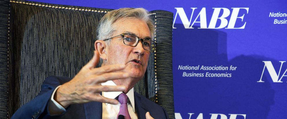 Federal Reserve Chairman Jerome Powell speaks at the National Association for Business Economics conference in Denver on Tuesday, Oct. 8, 2019. Powell said that U.S. job growth since early last year was not as robust as thought, a hint that the Fed m