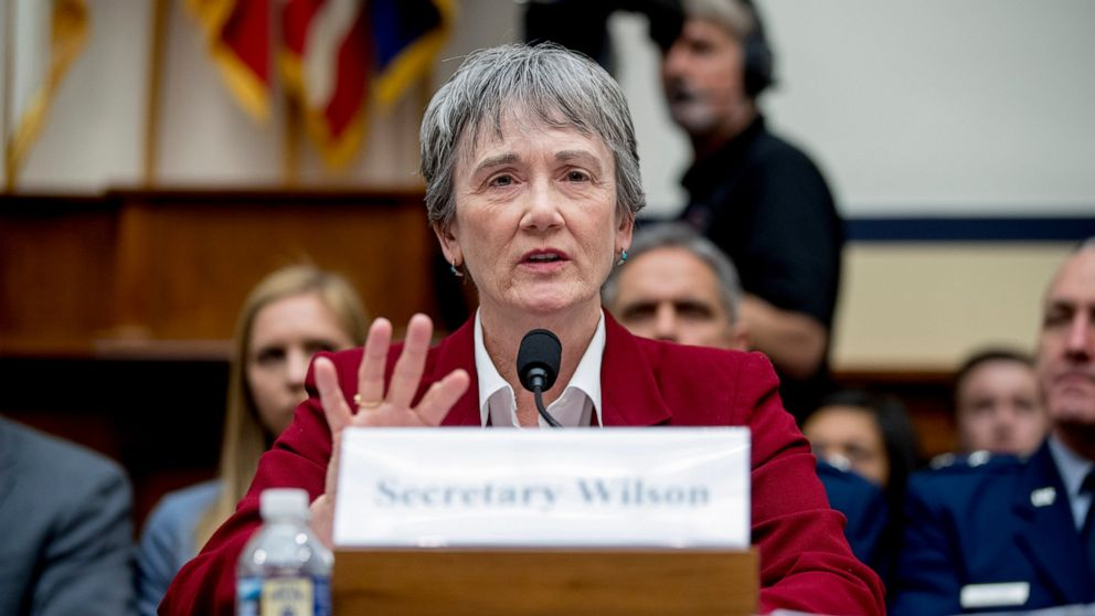 Secretary of the Air Force Heather Wilson speaks during a House Armed Services Committee budget hearing for the Departments of the Army and Air Force on Capitol Hill in Washington, Tuesday, April 2, 2019. (AP Photo/Andrew Harnik)