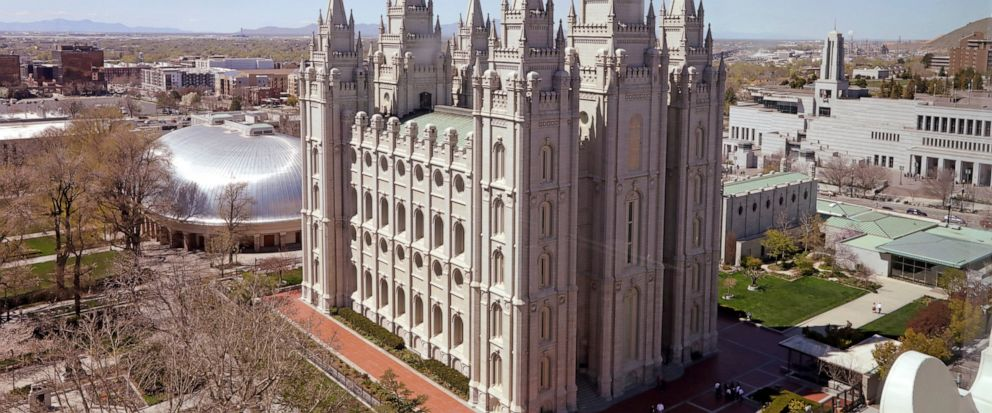 FILE - In this April 18, 2019, file photo, shows the Salt Lake Temple, in Salt Lake City. The Church of Jesus Christ of Latter-day Saints came out Monday, May 13, 2019, against a comprehensive nondiscrimination bill that faces long odds in Congress,