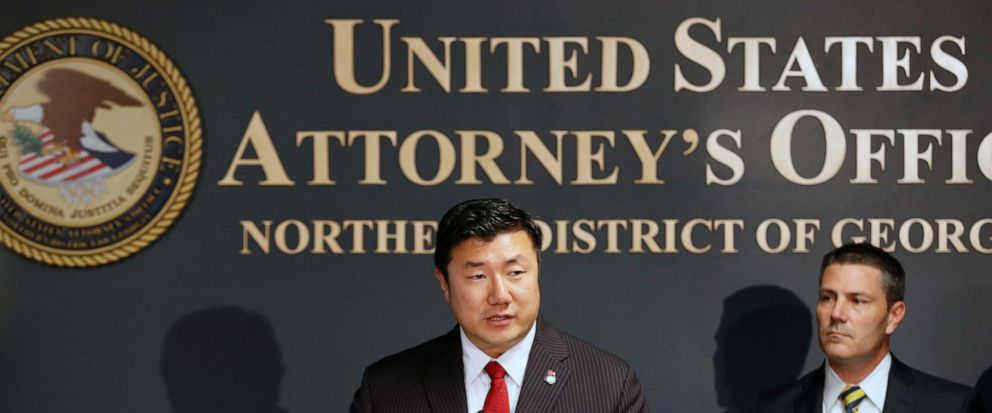 """U.S. Attorney Byung J. """"BJay"""" Pak, at the podium next to Chris Hacker, Special Agent in Charge of FBI Atlanta, announces that Georgia Insurance Commissioner Jim C. Beck has been indicted by a federal grand jury on charges of wire fraud, mail fraud an"""