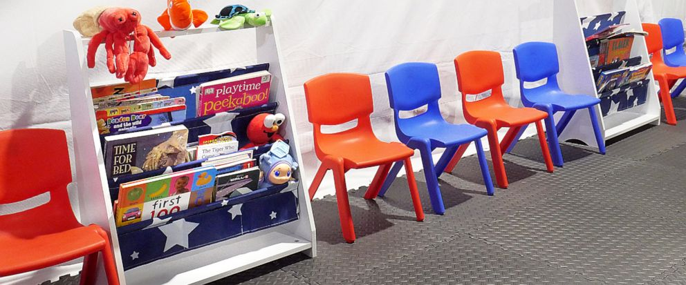 Stuff animals, story books and small chairs fill the Juvenile waiting area at the Migrant Protection Protocols Immigration Hearing Facilities in Laredo, Tuesday, September 10, 2019. The facility is schedule to open for hearings for immigrants seeking