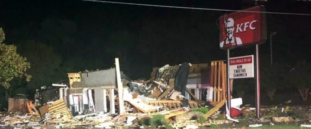 This image provided by the Eden, N.C., Police Department, shows damage to a KFC restaurant early Thursday, July 11, 2019, in Eden, N.C. Police say nobody was inside the restaurant when it was destroyed in an overnight explosion. (Deputy Chief Clint S