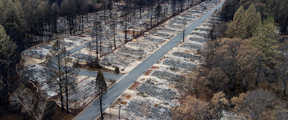 FILE- In this Dec. 3, 2018, file photo, homes leveled by the Camp Fire line the Ridgewood Mobile Home Park retirement community in Paradise, Calif. New figures released by California Gov. Gavin Newsom show the town of Paradise lost over 90% of its po