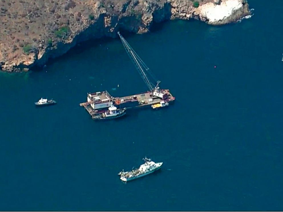 This photo from video provided by KABC-TV shows divers resuming their search Wednesday, Sept. 11, 2019 for the final missing victim who perished in a boat fire off the Southern California coast. The victim is one of 34 who died at sea last week near