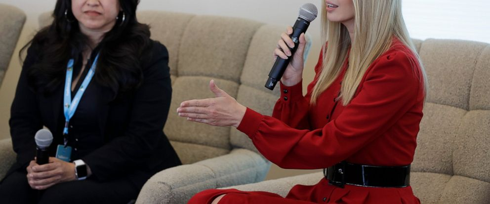 Ivanka Trump speaks during a news conference, Thursday, May 16, 2019, in Indianapolis. During an event with President Donald Trumps daughter and senior adviser on Thursday, Salesforce chairman Marc Benioff announced that the business software compan