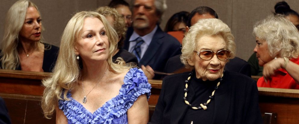 FILE - In the Sept. 10, 2018, file photo, Abigail Kawananakoa, right, and her wife, Veronica Gail Worth, appear in state court in Honolulu. A court hearing is scheduled Friday, Oct. 25, 2019 in a request for a guardian and conservator to manage the a