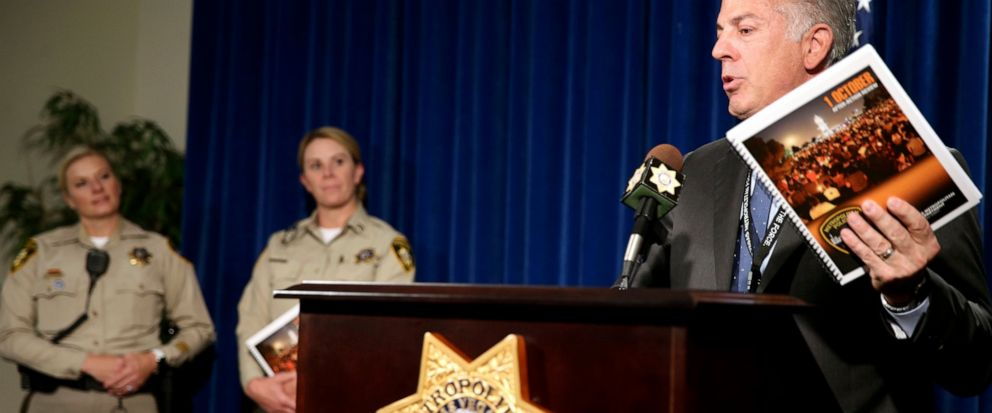 Clark County Sheriff Joe Lombardo announces the release of the Oct. 1, 2017, shooting After-Action Review with report authors Detective Stephanie Ward, left, and Capt. Kelly McMahill during a news conference at Metropolitan Police Department headquar