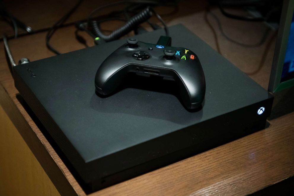PHOTO: An Xbox One X game console sits on display during the Microsoft Corp. global launch event in New York, Nov. 6, 2017.