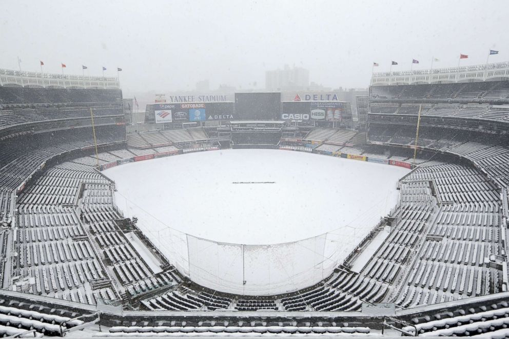 PHOTO: Snow covers the field before a scheduled New York Yankees home opener game against the Tampa Bay Rays at Yankee Stadium, April 2, 2018 in New York.