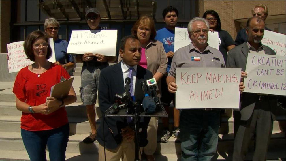 Supporters of 14-year-old Ahmed Mohamed, who was arrested this week, petition to have his school suspension overturned in Irving, Texas, Sept. 18, 2015.