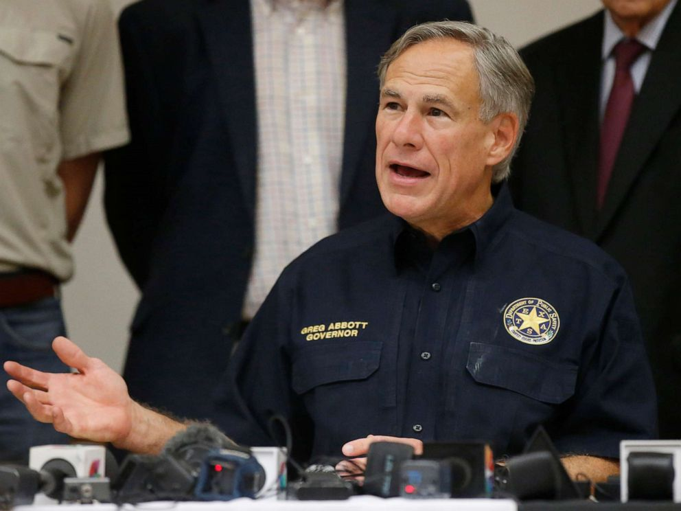 PHOTO: Texas Governor Greg Abbott speaks during a news conference concerning, Sept. 1, 2019, in Odessa, Texas.