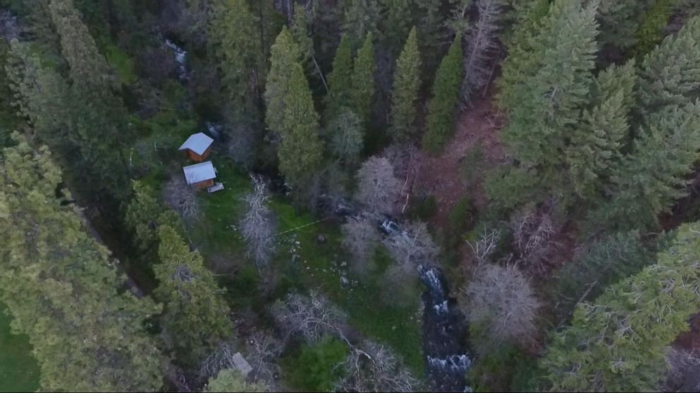 A birds-eye view of the two cabins where police found Elizabeth Thomas and Tad Cummins in northern California.