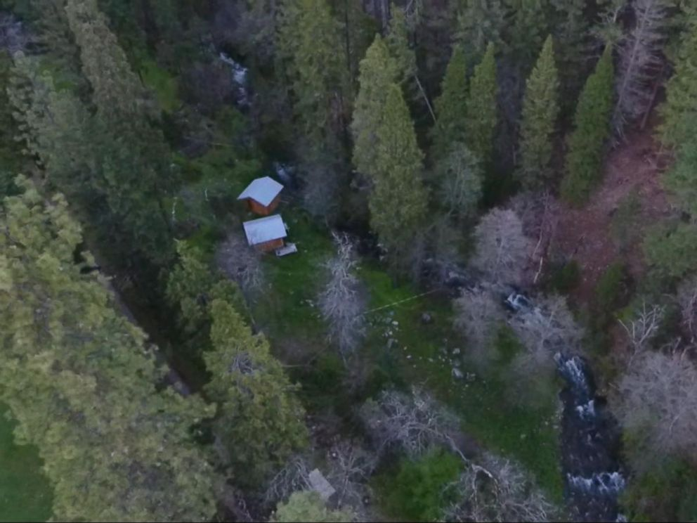 PHOTO: A birds-eye view of the two cabins where police found Elizabeth Thomas and Tad Cummins in northern California.