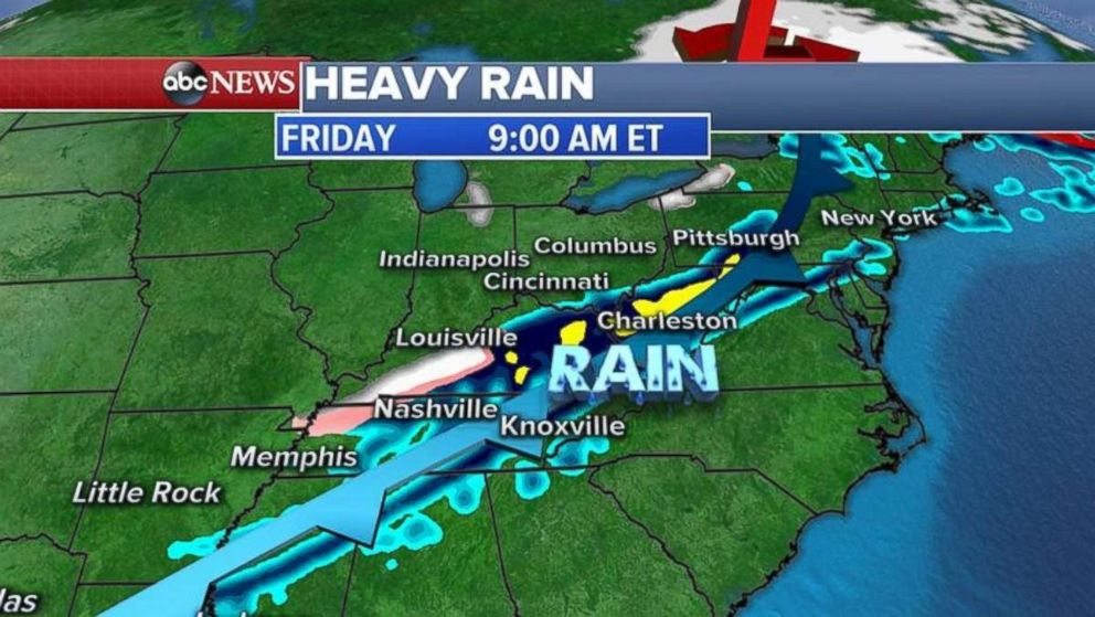 More rain will fall in the Ohio Valley on Friday morning.