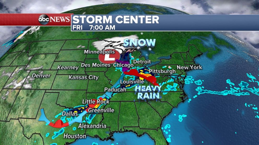 Heavy rain stretches from the Great Lakes to Dallas on Friday morning.