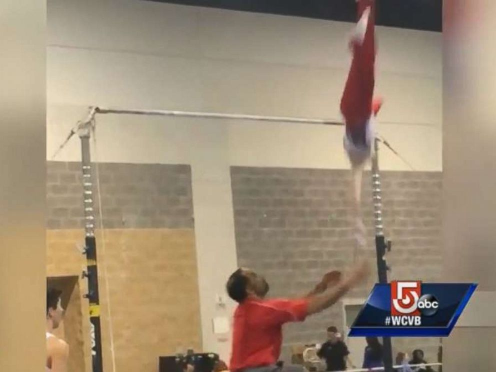 Noah Viera slipped off the high bar during warmups before a meet this weekend, before being saved from injury by his coach.