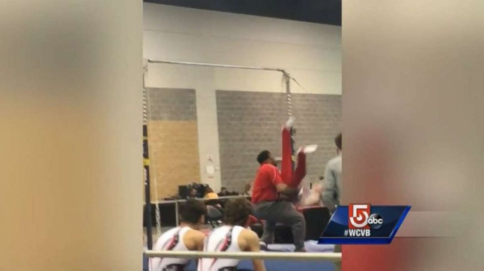 Noah Viera, 13, slipped off the high bar during warmups before a meet this weekend, before being saved from injury by his coach.