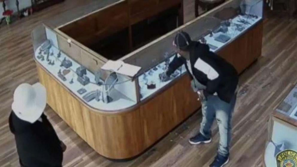 Two robbers made off with $2 million in jewelry from a Sugar Land, Texas, store on Jan. 10, 2018.