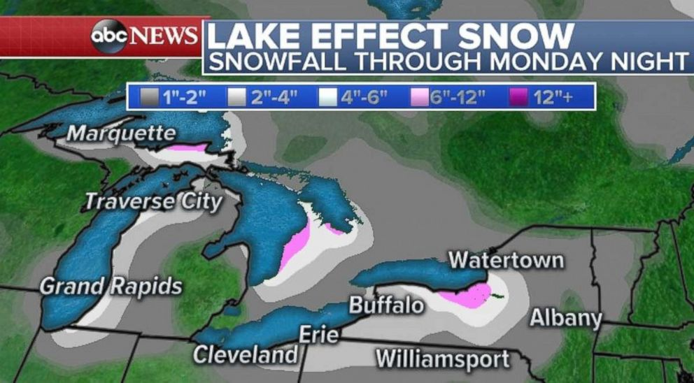 Lake effect snow will be lighter on Sunday and Monday in western Pennsylvania and New York than it was last week.